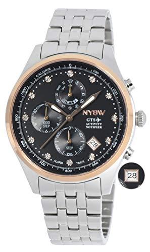 NYSW   Reloj Inteligente híbrido con Cristales de Swarovski, Hermoso Cristal de Zafiro, Calendario perpetuo, Impresionante Segunda Mano y más (TC-TS-03)