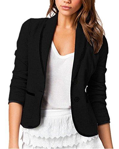 Women's Casual Lapel Slim-fit Cardigan Long Sleeve ICOCOPRO Double Button Work Office Stylish Blazer-Black-2L
