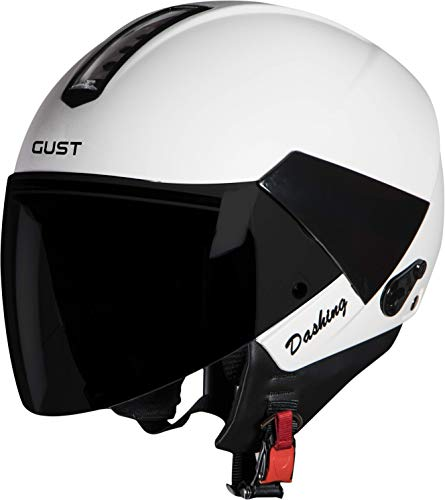 Steelbird SB-33 7Wings Gust Dashing Open Face Helmet (Large 600 MM, White with Smoke Visor)