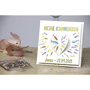 3 Motive - Gastgeschenke zur Taufe, Kommunion, Konfirmation, Firmung, Geburtstag - Geschenke für Gäste - Personalisiert inkl. Blumensamen - Herzform
