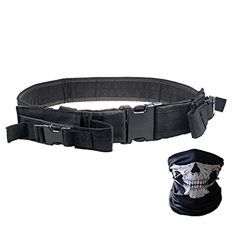 Vzer Heavy Duty Elite Law Enforcement Gear Utility Pistol Tactical Belt with Dual Mag Pouches - Bundled With Skull Face Tube Mask