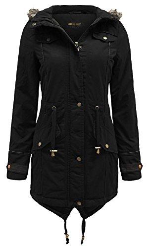 Chocolate Pickle ® Damen Tunika Mantel, Einfarbig * Einheitsgröße Gr. 34, schwarz Faux Leather Trim Jacket