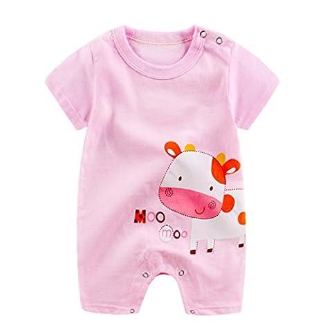 BURFLY Cute Cartoon Pattern Romper Jumpsuit Button Climbing Clothes for Newborn Baby Boys Girls (3-6Months,