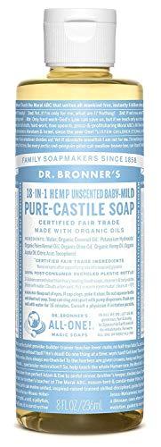 Dr. Bronner's Magic Soaps, 18-en-1 de chanvre doux pur pour bébé, Savon de Castille, non parfumé, 8 fl oz (237ml)