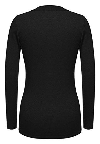 ZEARO Langarmshirt Damen Herbst basic Cropped Oberteile T-Shirt Bluse Tank Top Schwarz