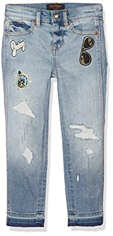 Juicy Couture, uk apparel, JUII9 Dnm Distressed W JC Patch, Jeans Fille, Bleu-Blue (Destroyed Repaired Cohen Wash), 14 Ans