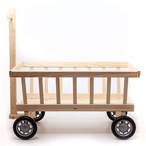 HolzFee Kinder-Handwagen 72 x 41 x 37 cm mit Deichsel 70 cm