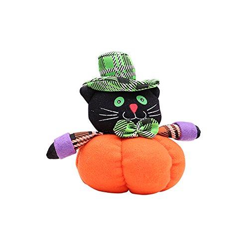 Le yi Wang You Lovely Kürbis Katze Hexe Geistertuch Plüsch Spielzeug Bar Club Home Halloween Dekoration, Stoff, Black Cat