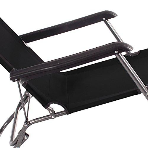 Smartfox Sonnenliege Gartenliege Strandliege 3 Sitz-/Liegepositionen 178 cm Schwarz -