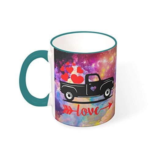 O4EC2-8 11 Oz Liebes-Auto Wasser Cappuccino Mug mit Griff Porzellan Personalize Mug - Valentinstag Dekor Freunde Geschenke, Geeignet für Familie verwenden Teal 330ml