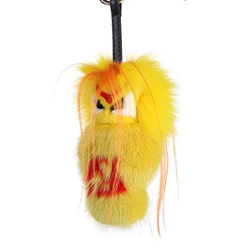 r Puppe aus Echte Fell Handy Accessoire Schlüssel Anhänger -gelb ()