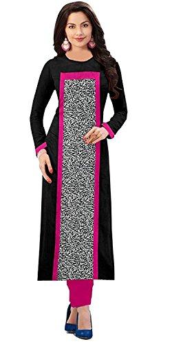 Rensil Women's Cotton Kurti (Black_Free Size)