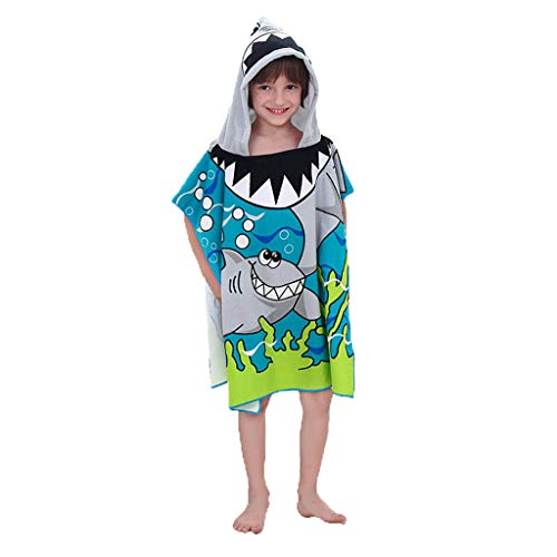 Webla Strandtuch Mit Kapuze Kinder Kleinkind Mit Kapuze Badetuch Für Strandhai Pool Coverup Poncho Mantel Für Jungen Kinder 1-12 Jahre Bademantel