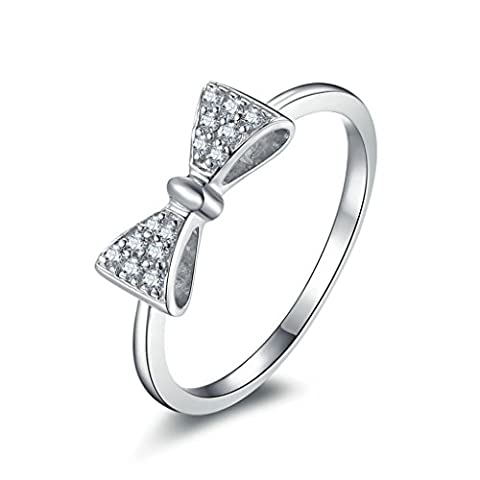 AMDXD Jewelry Sterling Silver Women Promise Customizable Rings Bow CZ Size O 1/2,Engraving