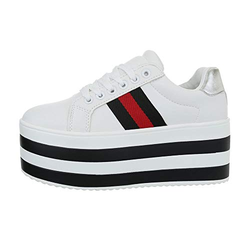 Ital-Design Damenschuhe Freizeitschuhe Sneakers Low Synthetik Weiß Schwarz Gr. 37 (Design Sneaker)