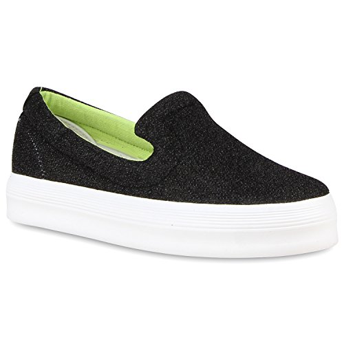 Damen Glitzer Slip-ons Plateau Metallic Slipper Mode Schuhe | Gr. 36-41 | Aktuelle Kollektion Schwarz Glitzer