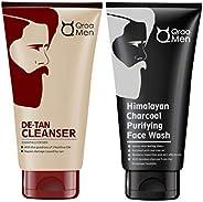 Qraa Men De-Tan Cleanser/Wash For Men For Skin Lightening/Brightening, 100 g with clove oil & Qraa Men Himalayan Activated B