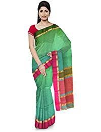 R K Chouhan Maheshwar Maheshwari Handloom Cotton & Silk Saree (Light Green)