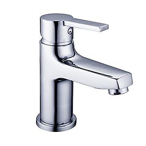 DP Grifería – Grifo monomando de lavabo, color plateado, serie Cedro