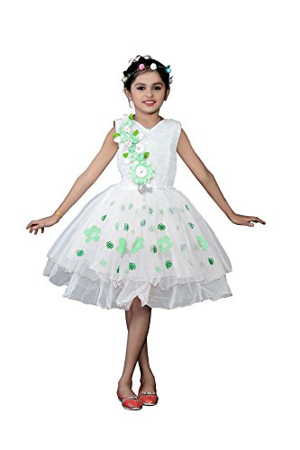 White World Baby Girls Green Color Birthday Party wear Frock Dress