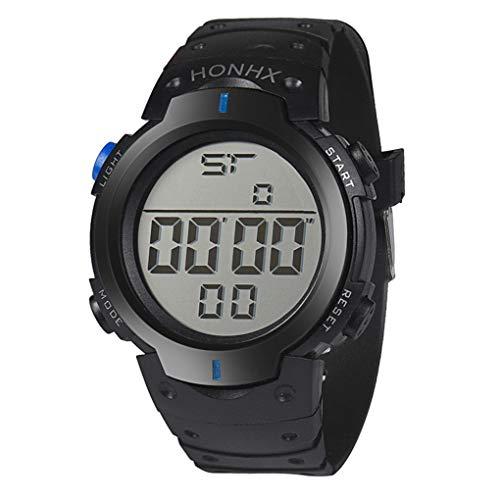 Digital Sport Uhren für Herren, Skxinn Unisex-Stoppuhrmit Silikon Bandmaterial LED-Licht Elektronisch Wasserdicht Ausverkauf(Blau,One Size) -