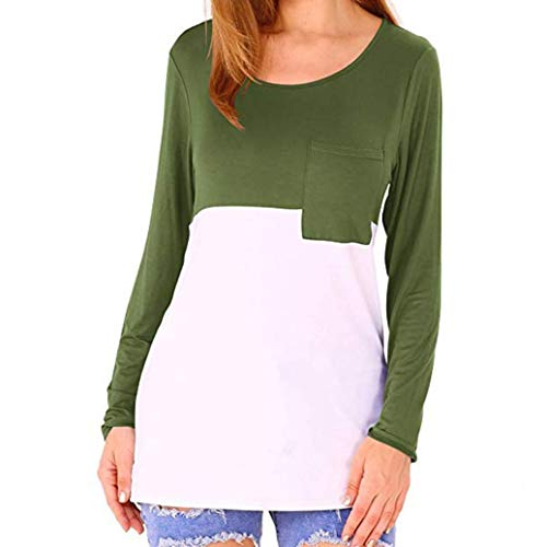 Bluse Damen Julywe Damen Casual Color Block T Shirts Scoop Hals Lange Ärmel Tops Tasche