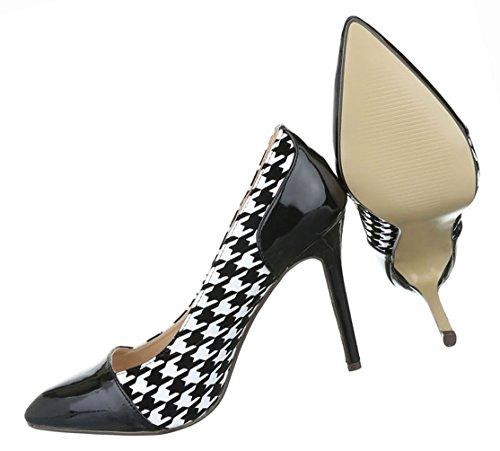 Damen Schuhe Pumps High Heels Stiletto Schwarz Weiss Schwarz