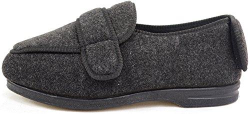 Homme orthopédique/EEE Coupe Large Velcro réglable pantoufle/pantoufles Gris - gris