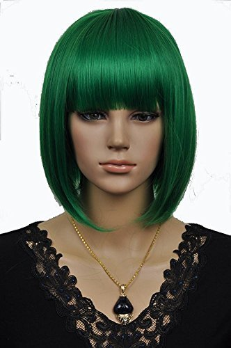 y Party Kurze gerade dunkle grüne Bob Haar Perücken Kanekalon Synthetische Faser Perücke ()