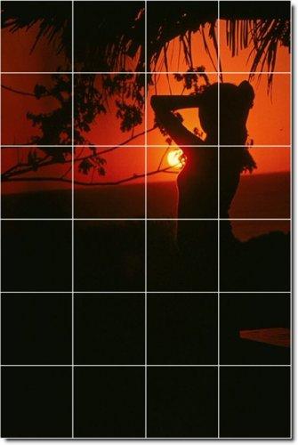 PUESTAS DE SOL FOTO BACKSPLASH AZULEJO MURAL 30  24X 36PULGADAS CON (24) 6X 6AZULEJOS DE CERAMICA