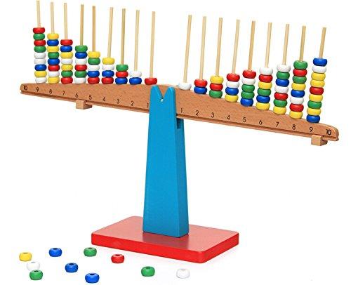 yigooood Montessori Baby Kinder Spielzeug Teaching Aids Holz Balance Beam Vertikal Ruten Stapeln, Waage Spielzeug