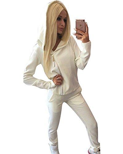 Anzug Mit Pullover (Damen Jogginganzug Langarm Anzug Mit Kapuze Sportanzug Trainingsanzug Sweatshirt Anzug mit Hose 2pcs Weiß)