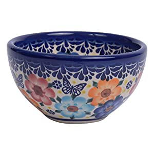 Traditional Polish Pottery, Handcrafted Ceramic Snack & Dip or Salad Bowl d.10cm, 200ml, Boleslawiec Style Pattern, M.700.Meadow