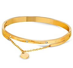 Idea Regalo - Daawqee Bracciale Uomo Donna, Heart Charm Elegant Bangle Bracelet for Women Rose Gold Color Stainless Steel Stellux Austrian Crystal with Roman Letter Gold Heart 50-52mm