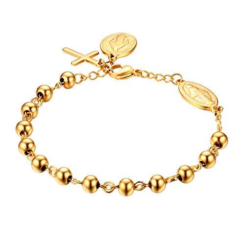 JewelryWe Schmuck Rosenkranz Armband Edelstahl Jungfrau Maria Katholischen Heiligen Gottes Mutter Kreuz Anhänger Perle Kugelkette Armreif Armkette für Herren Damen Gold