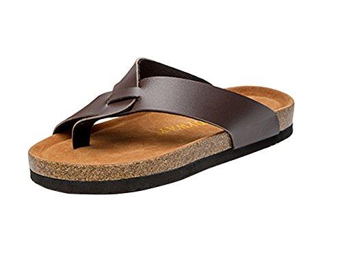 Unisex Offene Sandalen Flache Hausschuhe Sommer Zehentrenner Sandalen Pantoletten mit Korkfußbett 36 weiß Blau HMpkGTviB