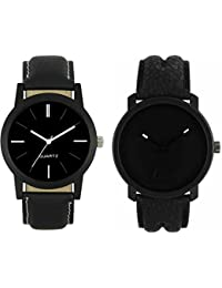 Om Designer Analogue Black Dial Watch Leather Strap Attractive Stylish Combo Watches For Men's & Boy's (Pack Of 2)