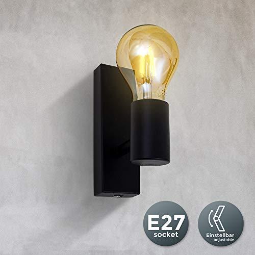 B.K.Licht - Aplique de pared negro para interior, Lámpara de metall, requieren bombilla E27, max. 60...