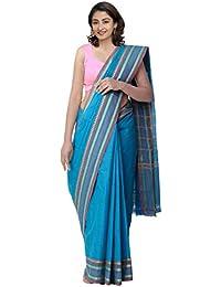Unnati Silks Cotton Saree Without Blouse Piece(Unm32458_Blue_Free Size)