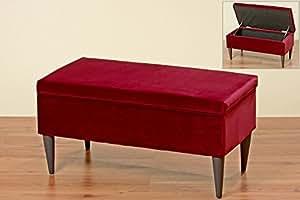 sitzbank ziena in rot samt 80x41cm mit stauraum bank k che haushalt. Black Bedroom Furniture Sets. Home Design Ideas