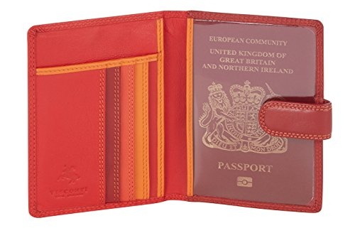 "Visconti custodia per passaporto di pelle da donna ""Rainbow"" Passport Cover Case (RB75): (toni del blu (blue multi)) toni del rosso (red multi)"