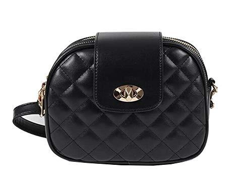 JUND Damen PU Leder Classic Kariert Umhängetasche Mode Casual Einfarbig Messenger Bag Elegant Frauen Handtasche Ledertasche -
