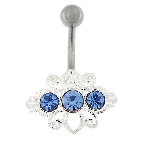 Fantaisie argent 925 Sterling Design Tribal avec anneau de nombril en acier inoxydable Lavande