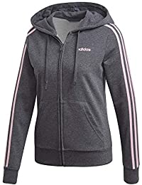 194d69ed7532 adidas Essentials 3Stripes Full Zip Hoodie, Felpa con Cappuccio Donna, Dark  Grey Heather/