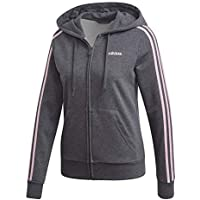 reputable site 897f4 7536b adidas Essentials 3Stripes Full Zip Hoodie, Felpa con Cappuccio Donna, Dark  Grey Heather