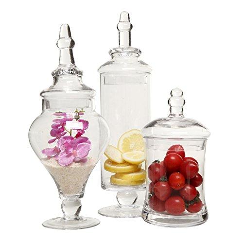 MyGift Transparente Designer-Apothekergläser (3-teiliges Set) dekorativ, für Hochzeiten, Süßigkeiten-Buffet Glass Candy Apothecary Jar