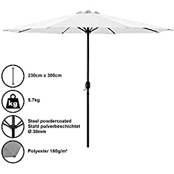 [casa.pro]®] Parasol de Jardin Polyester Acier Revêtu par Poudre Blanc 300cm x 230cm
