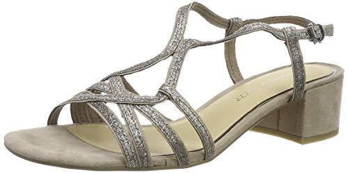 MARCO TOZZI 2-2-28201-22, Sandali con Cinturino alla Caviglia Donna, Beige (Taupe Comb 344), 42 EU