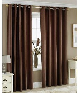 "•ROHILinen• Premium Pair of CHOCOLATE 66″ Width x 72″ Drop, Luxury Faux Silk Ring Top Eyelet Curtains, Fully Lined Ready Made Curtain + ""Includes Complimentary Matching Tie Backs FREE"""