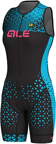 Alé Cycling Triathlon Rush Sleeveless Unitard Long Damen Black-Light Blue Größe M 2019 Triathlon-Bekleidung